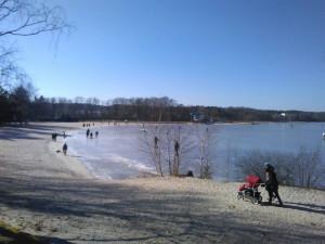 Máchovo jezero zamrzlo, v přístavišti rozbíjejí led kolem lodí