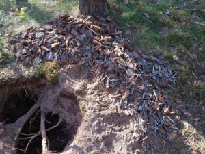 Hledač kovů v lese našel skoro sto kilogramů munice z války