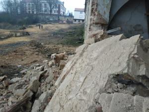FOTO: V Zákupech se zřítila část zdi hospodářského dvora zámku. Sutiny prozkoumávají kynologové